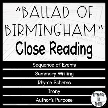 """Ballad of Birmingham"" Close Reading"