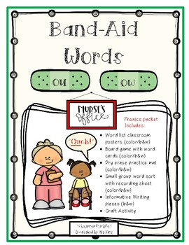 """""""Band-Aid Words"""" (-ou, -ow) Phonics Packet"""