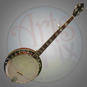 """Banjo"" Clipart Stock Photo of a Bluegrass Banjo"