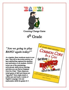 """""""Bank!"""" 4th Grade Common Core Game Packet"""