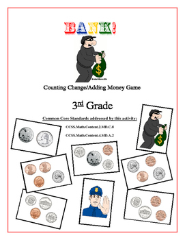 """Bank!"" Identifying & Counting Coins 3rd Grade Game Packet"