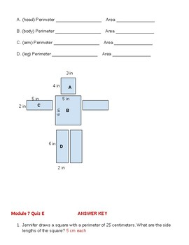 Grade 3 Module 7 Quiz E *Based on Eureka Math Lessons*