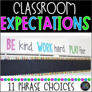 """""""Be Kind. Work Hard. Play Fair."""" Classroom Display"""