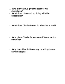 """""""Be My Valentine, Charlie Brown"""" Movie Questions"""