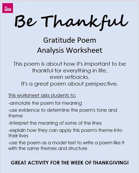 be thankful poem analysis worksheet poetry for middle and high school. Black Bedroom Furniture Sets. Home Design Ideas