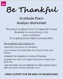 """""""Be Thankful"""" Poem Analysis Worksheet  - Thanksgiving/Grat"""