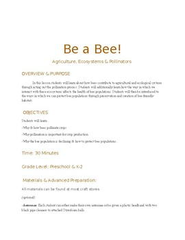 """""""Be a Bee"""" Pollination Activity"""