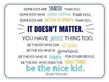 """Be the Nice Kid"" Quote Classroom Poster #2"