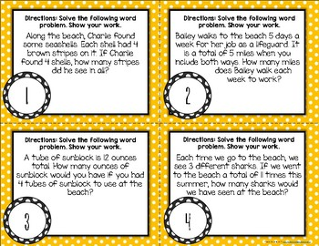 {Beachy} Multiplication Word Problem Task Cards