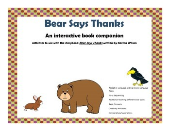 """Bear Says Thanks"" Book Companion"