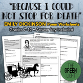 """Because I Could Not Stop for Death"" Emily Dickinson Poem Worksheet Packet"