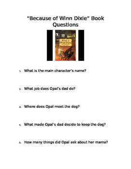 """Because of Winn Dixie"" Book Questions"