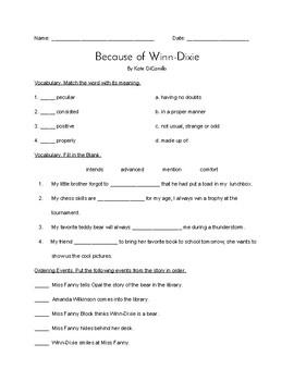 """Because of Winn-Dixie"" QUIZ (Journeys Grade 4 Reader)"