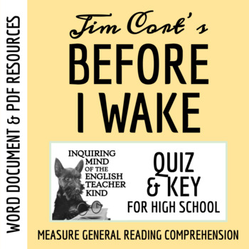 """Before I Wake"" by Jim Cort - Quiz & Key"