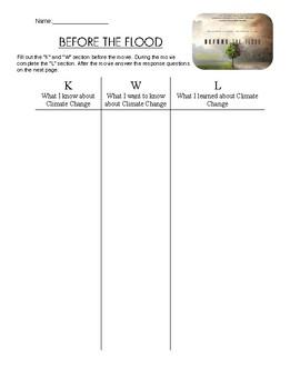 """""""Before the Flood"""" Movie Worksheet"""