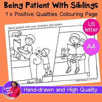 """""""Being Patient With Brothers + Sisters"""" Coloring Sheet/Colouring Page"""