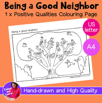 """""""Being a Good Neighbor"""" Birds in Tree Printable Coloring Sheet/Colouring Page"""