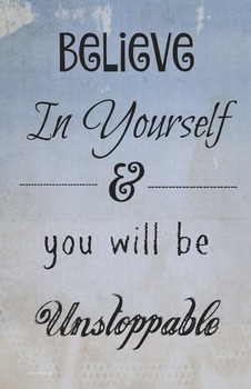 """Believe In Yourself"" Classroom 11 x 17 Poster Classroom Management Motivation"
