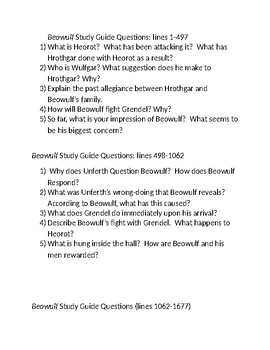 """""""Beowulf"""" Study Guide"""
