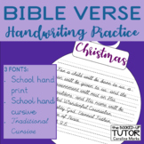 {Christmas bible verse} {Religious Christmas} (Cursive handwriting practice}