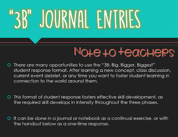 """Big, Bigger, Biggest"" Student Written Response Format/Journal Entry"