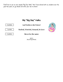 """Big Day Haiku"" Poetry Pack"
