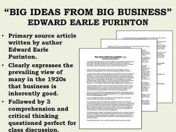 """Big Ideas From Big Business"" - Edward Earle Purinton - 1920s - USH/APUSH"