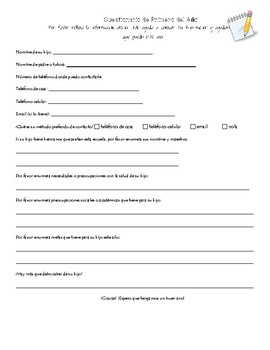 **Bilingual** Beginning of the Year Parent Questionnaire