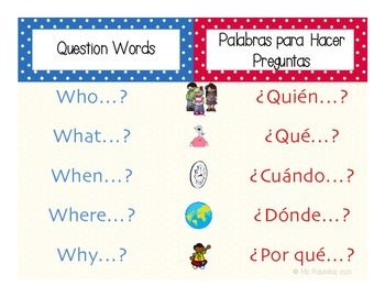***Bilingual***Question words / Preguntas Poster