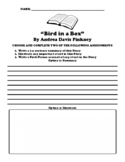 """Bird in a Box"" By Andrea Davis Pinkney UDL Choice Board Worksheet"
