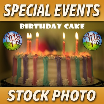 """""""Birthday Cake"""" - Stock Photo - Cake with Candles - Photograph"""