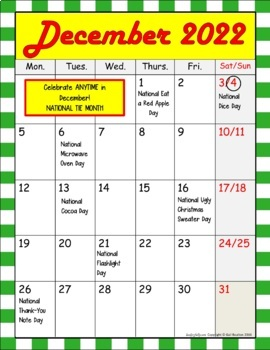 Bizarre and FUN National Holidays to Celebrate your Staff (DECEMBER BUNDLE)
