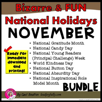 Bizarre and FUN National Holidays to Celebrate your Staff (NOVEMBER BUNDLE)