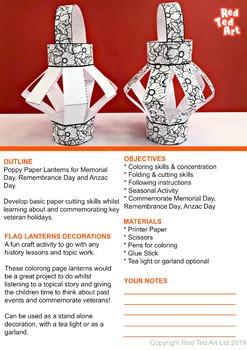 (Black/ White) Paper Poppy Lantern Craft - Memorial Day, Remembrance & Anzac Day