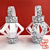 (Black/ White) Paper Poppy Lantern Craft - Memorial Day, R
