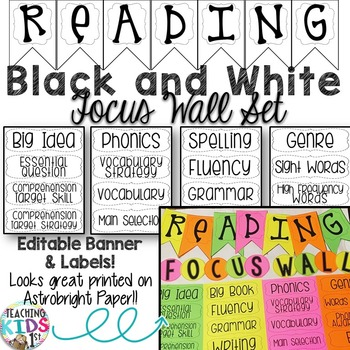 {Black and White} Focus Wall Editable Labels and Banner