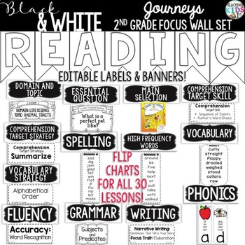 {Black and White} Journeys 2nd Grade Focus Wall Set