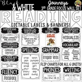 {Black and White} Journeys 3rd Grade Reading Focus Wall Set + Newsletters