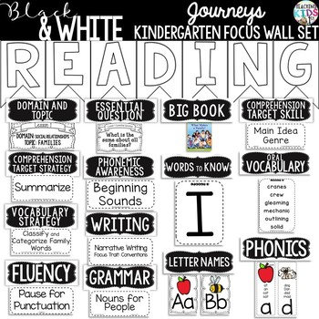 {Black and White} Journeys Kindergarten Focus Wall Set