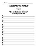 """Bo at Ballard Creek"" ACROSTIC POEM WORKSHEET"