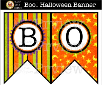 """""""Boo!"""" Halloween Banner [Marie Cole Clipart]"""