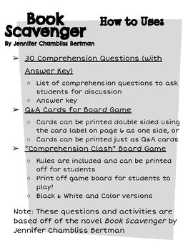 """""""Book Scavenger"""" Comprehension Questions and Board Game"""