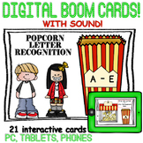 Letter Recognition A-E - {Boom Cards} with AUDIO - Popcorn Theme