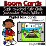 Back to School Boom Cards Subtraction Facts within 10 Dist