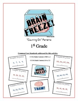 """Brain Freeze!"" Counting On Patterns 1st Grade Common Core Game Packet"