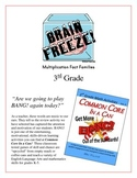 """Brain Freeze!"" Multiplication Fact Families 3rd Grade Common Core Game Packet"