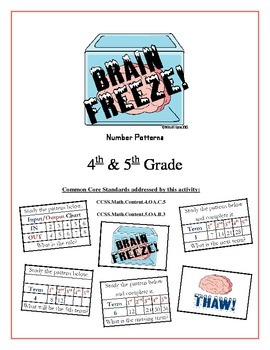 """""""Brain Freeze!"""" Number Patterns 5th Grade Common Core Game Packet"""