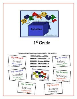 """Break Out!"" Syllables 1st Grade Common Core Game Packet"