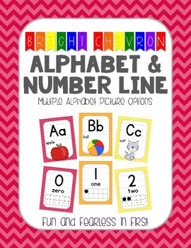 {Bright Chevron} Alphabet & Number Line Posters