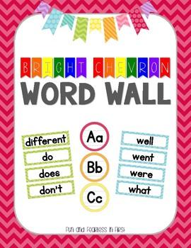 {Bright Chevron} K-2 Word Wall